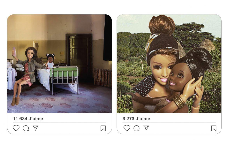 Photos retouchées surlecompte Instagram Barbie Savior («Barbie lasauveuse » en français), 166000abonnés au compteur, qui tourne enridicule letourisme humanitaire.