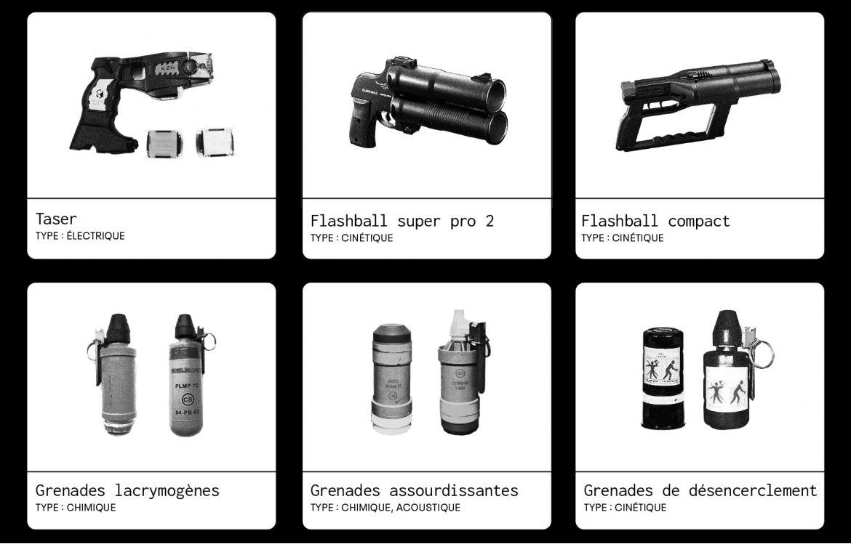 Panorama d'armes non létales autorisées en France.