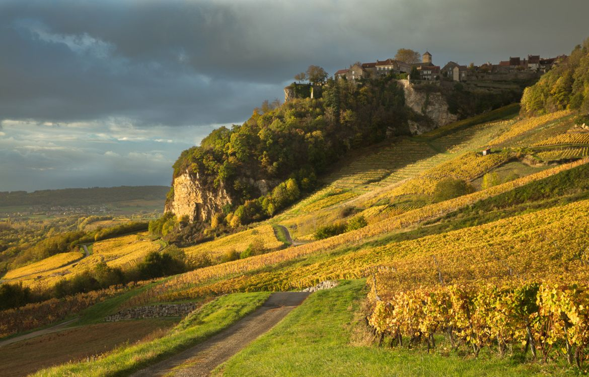 Late light after the rain on the vineyards around Château-Chalon, Jura