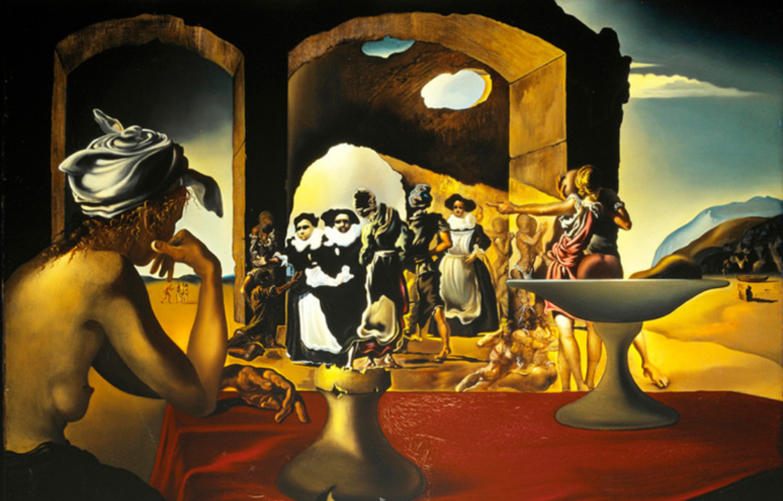 Marché d'esclaves avec apparition du buste invisible de Voltaire -